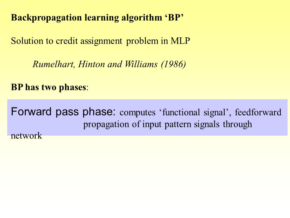 Forward pass phase: computes 'functional signal', feedforward
