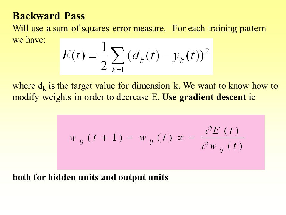 Backward Pass Will use a sum of squares error measure. For each training pattern we have:
