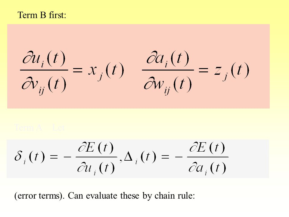 Term B first: Term A Let (error terms). Can evaluate these by chain rule: