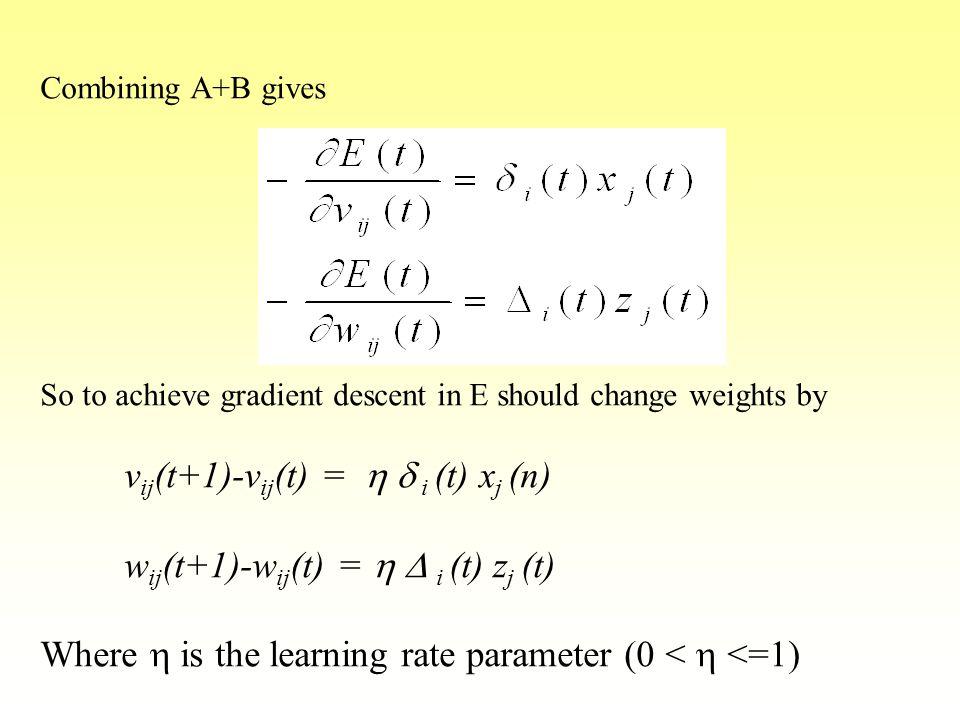vij(t+1)-vij(t) = h d i (t) xj (n) wij(t+1)-wij(t) = h D i (t) zj (t)