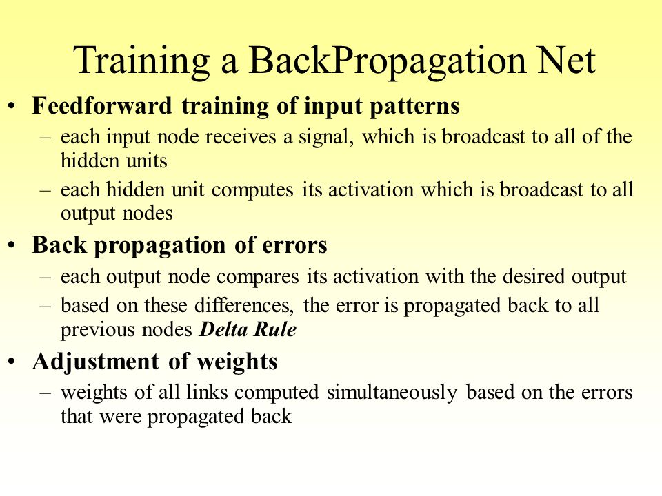 Training a BackPropagation Net