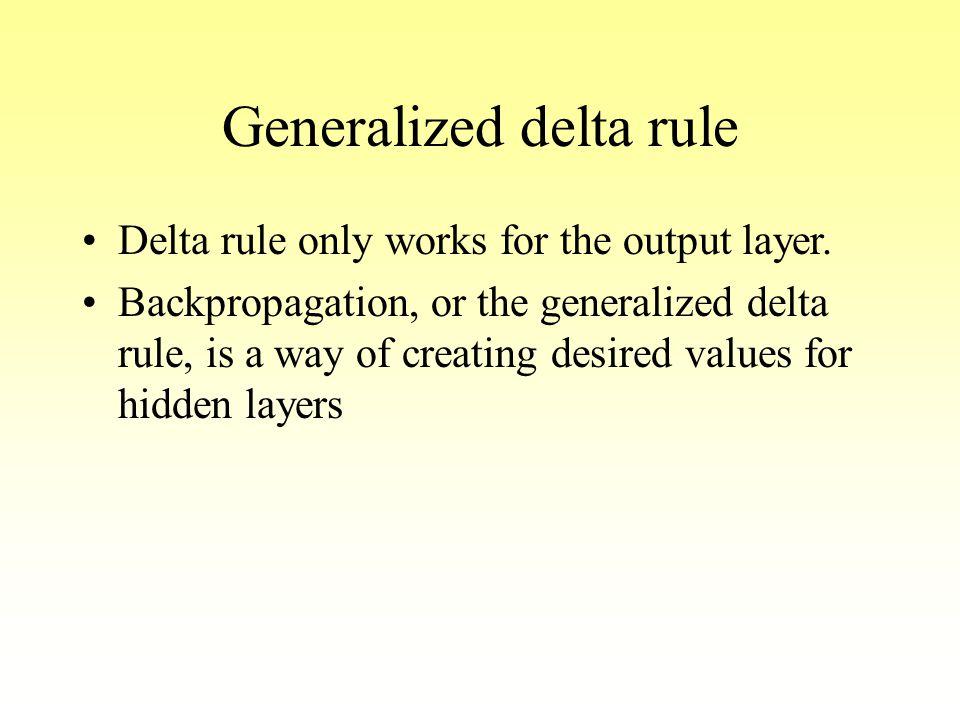 Generalized delta rule