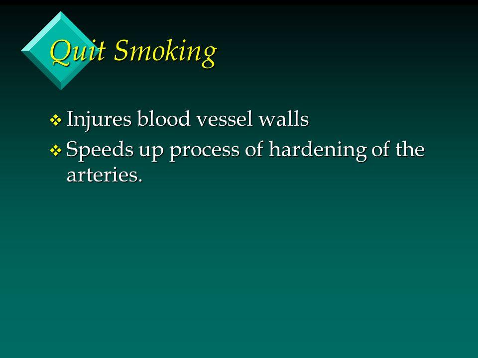 Quit Smoking Injures blood vessel walls