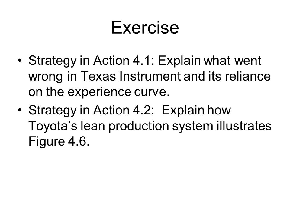 Exercise Strategy in Action 4.1: Explain what went wrong in Texas Instrument and its reliance on the experience curve.
