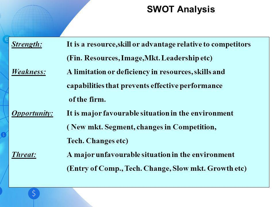 SWOT Analysis Strength: It is a resource,skill or advantage relative to competitors. (Fin. Resources, Image,Mkt. Leadership etc)