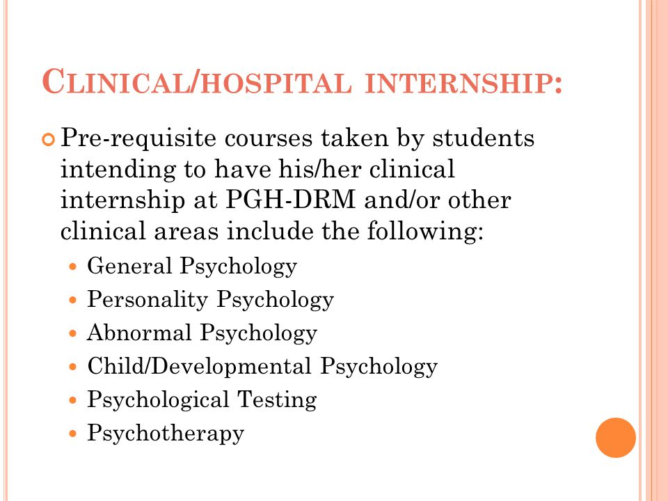 Clinical/hospital internship: