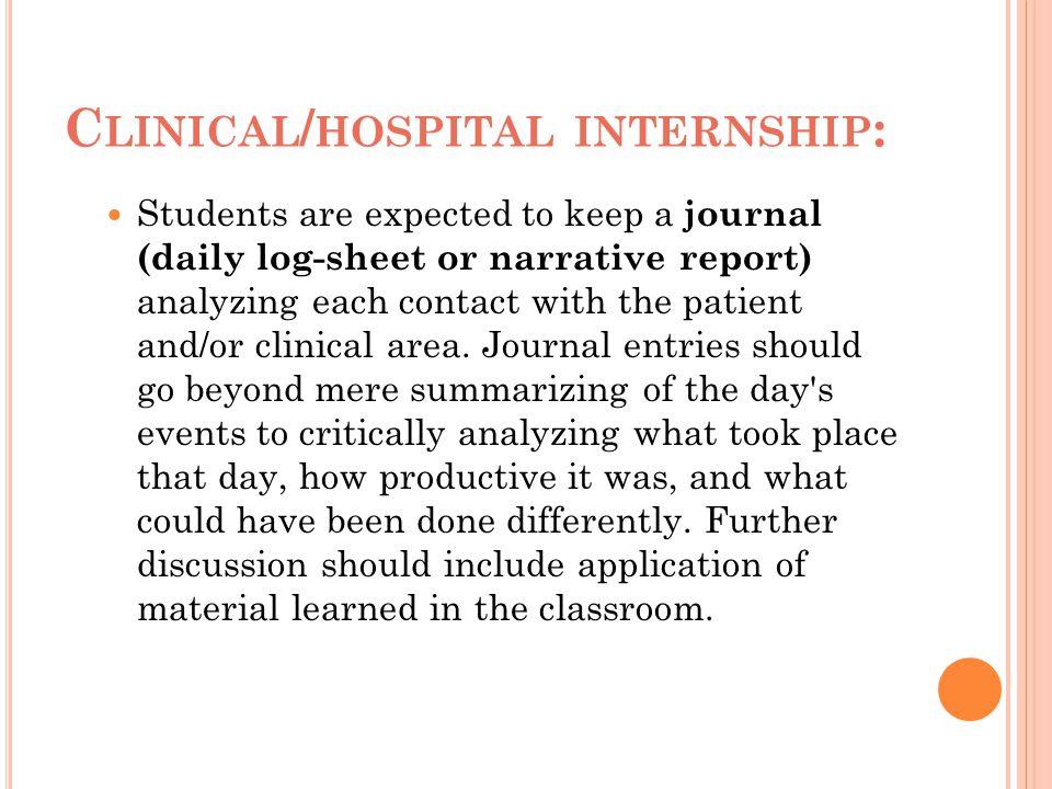Clinical/hospital internship: