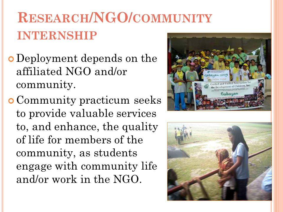 Research/NGO/community internship