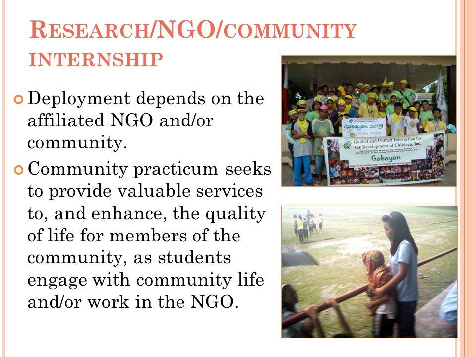 Research/NGO/community internship