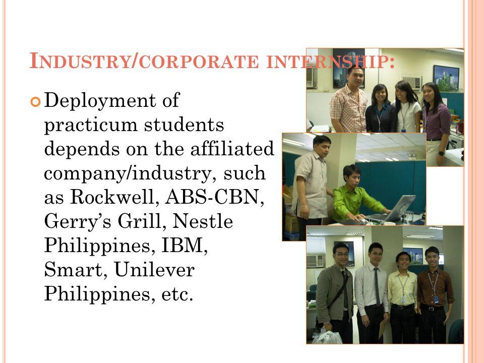Industry/corporate internship: