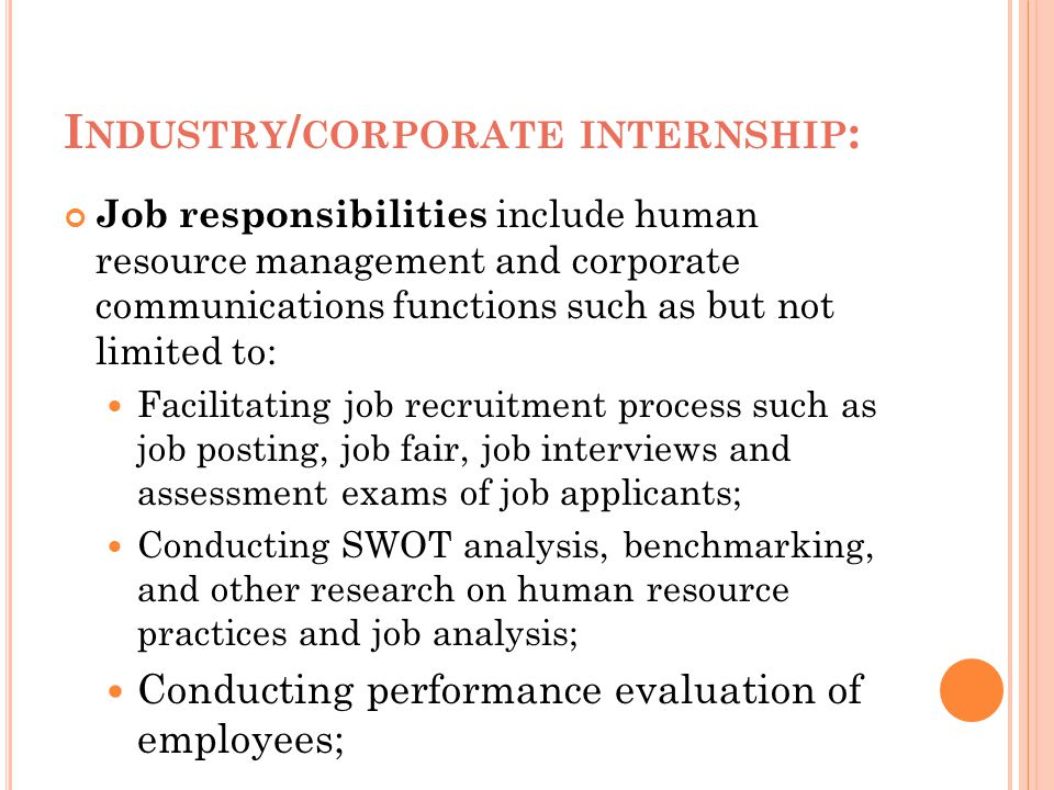 Industry/corporate internship: