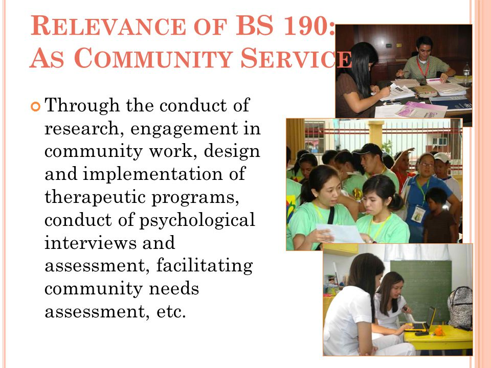 Relevance of BS 190: As Community Service