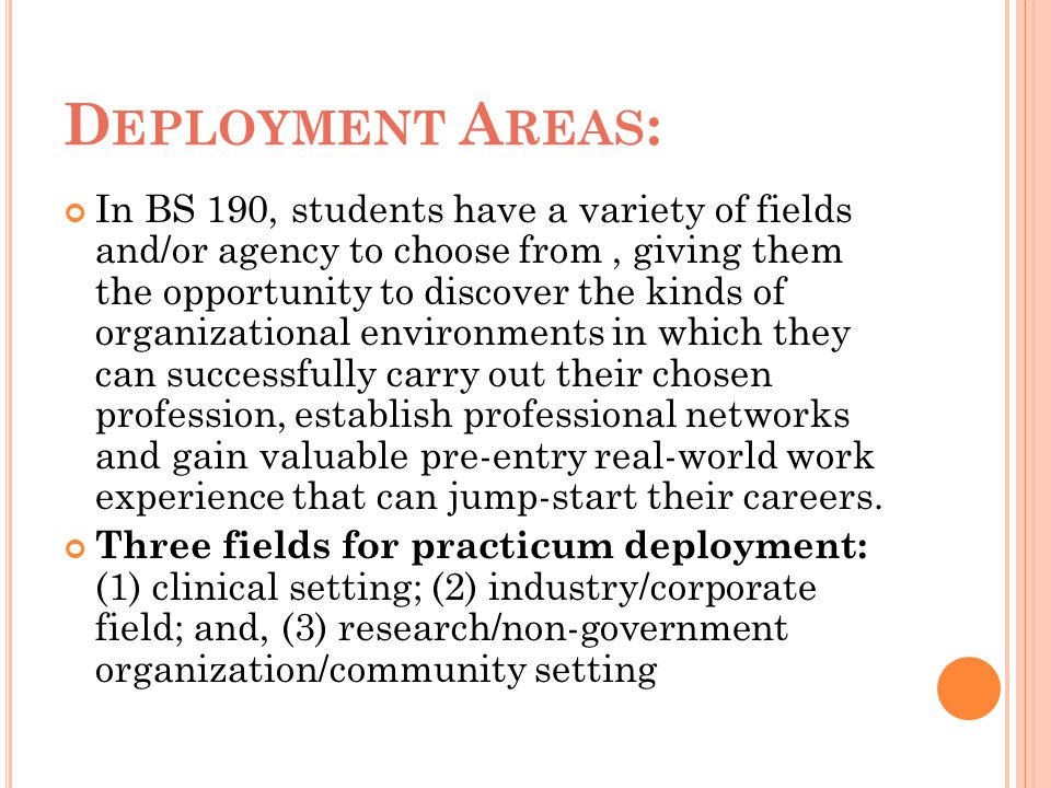 Deployment Areas: