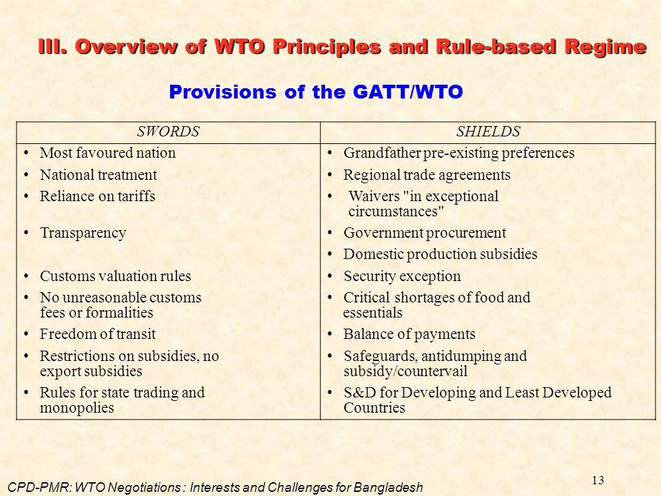 Provisions of the GATT/WTO