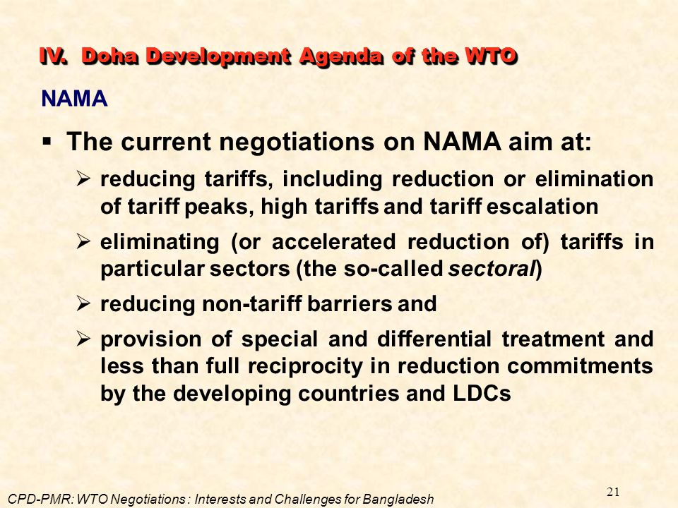 The current negotiations on NAMA aim at: