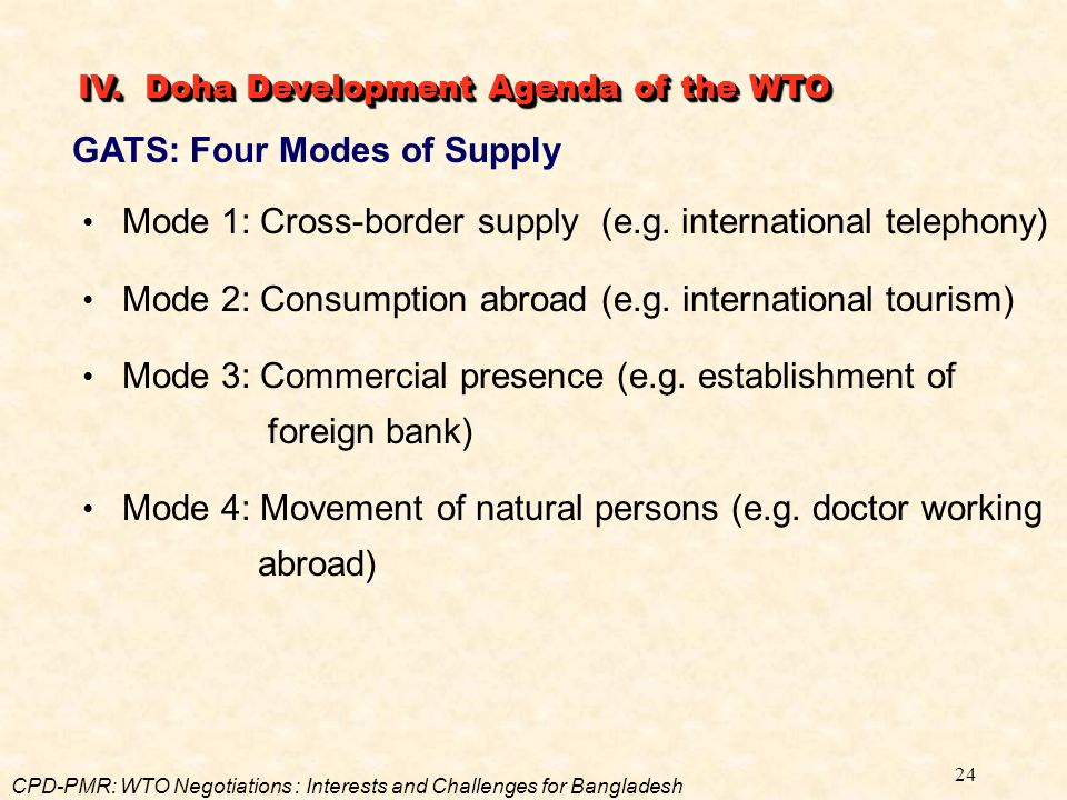 GATS: Four Modes of Supply