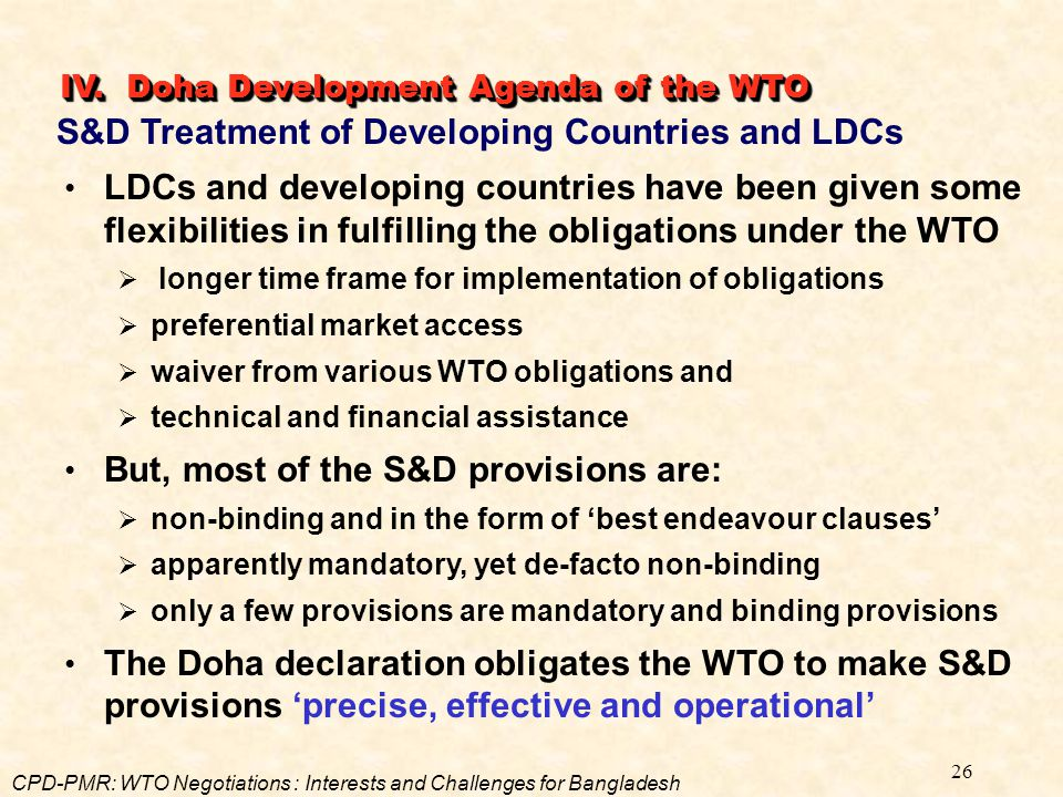 S&D Treatment of Developing Countries and LDCs