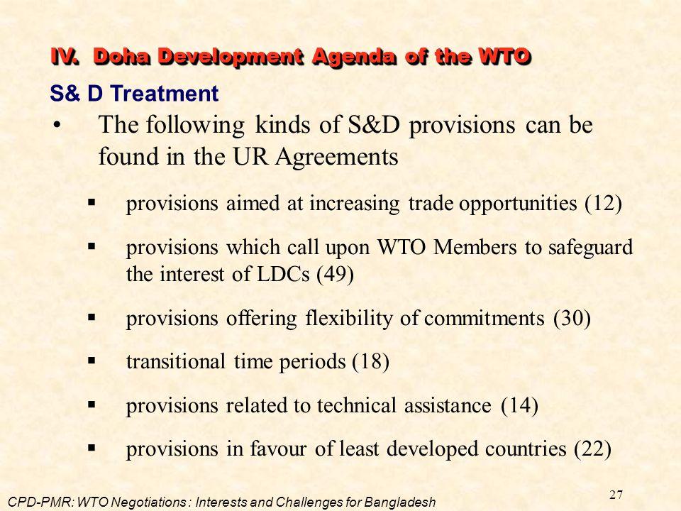 IV. Doha Development Agenda of the WTO