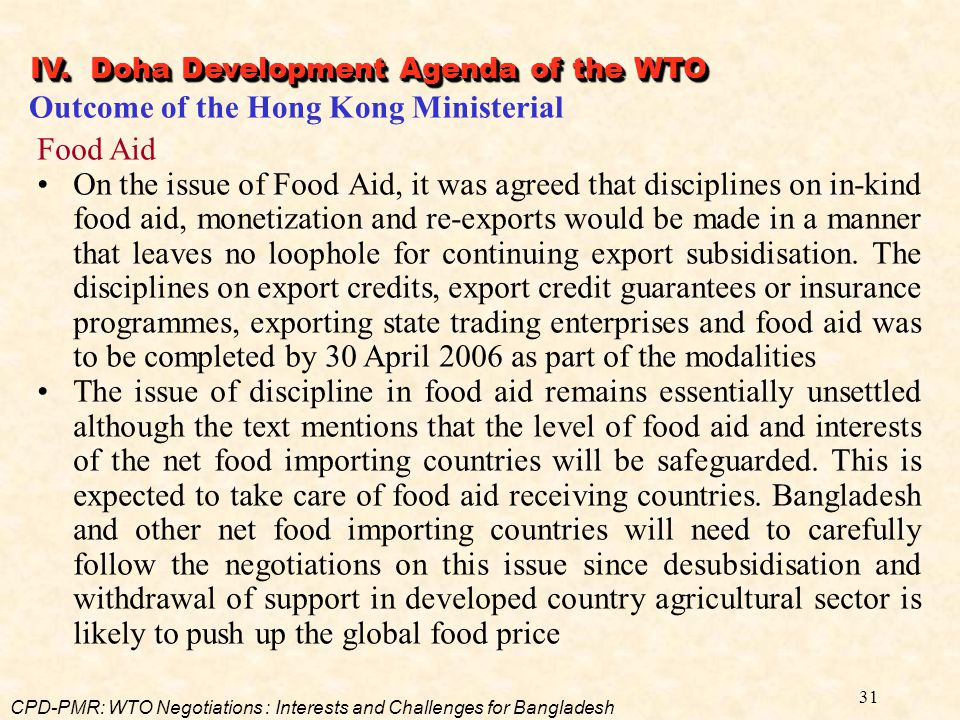 Outcome of the Hong Kong Ministerial Food Aid