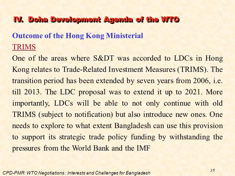 Outcome of the Hong Kong Ministerial TRIMS