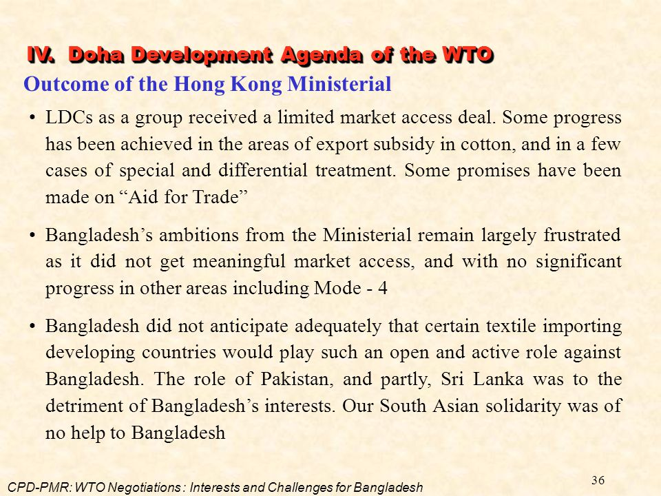 Outcome of the Hong Kong Ministerial