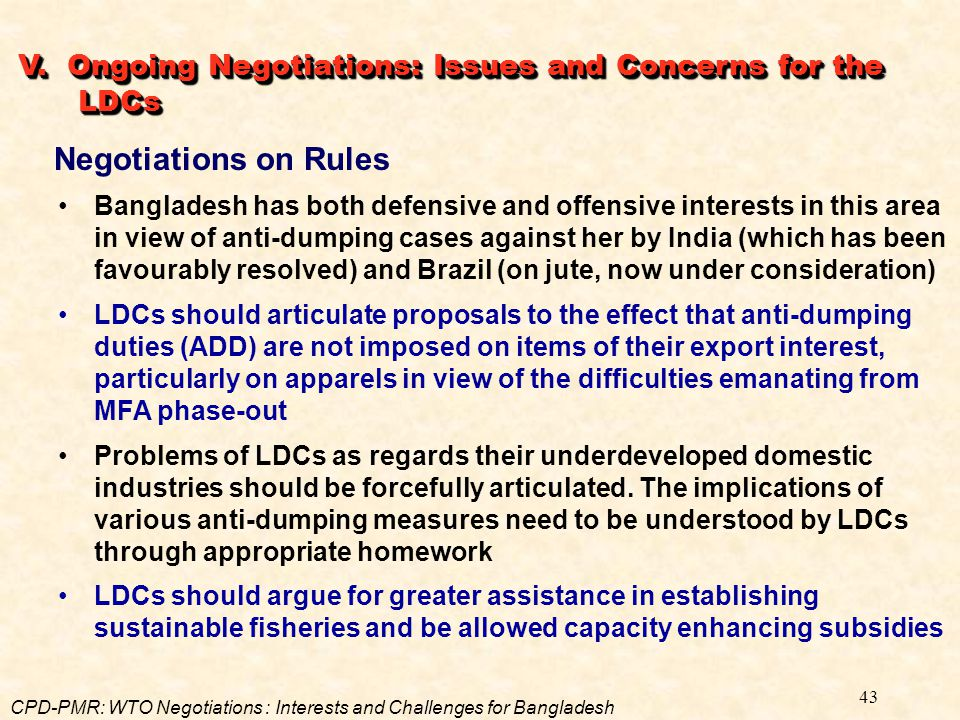 V. Ongoing Negotiations: Issues and Concerns for the LDCs