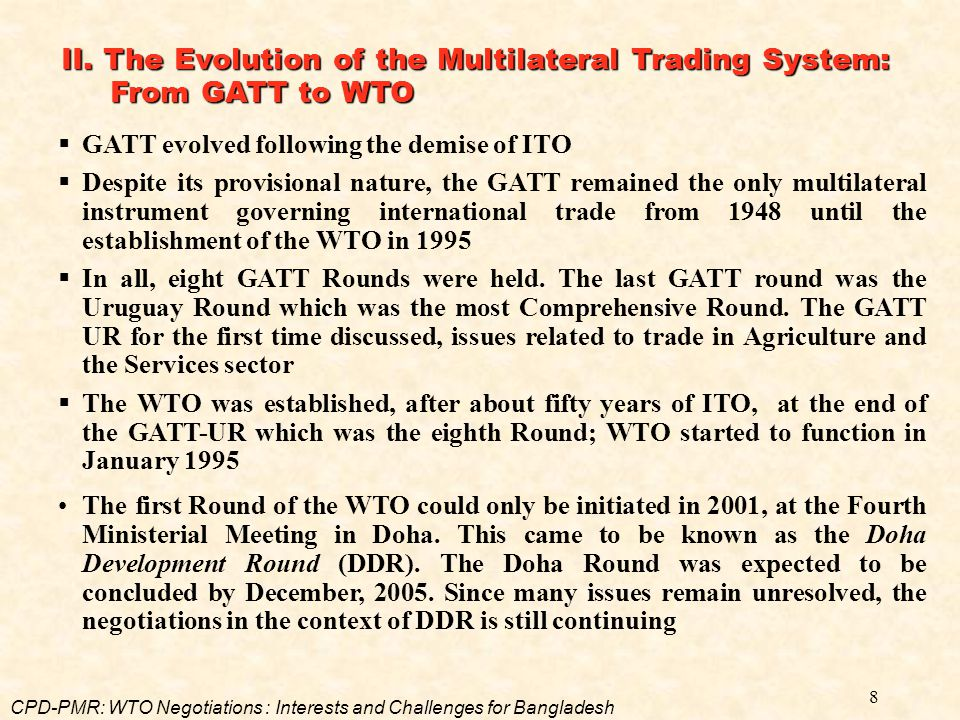 II. The Evolution of the Multilateral Trading System: From GATT to WTO