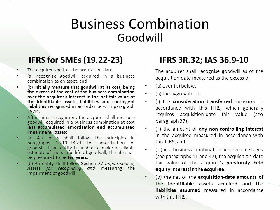 Business Combination Goodwill IFRS for SMEs (19.22-23)