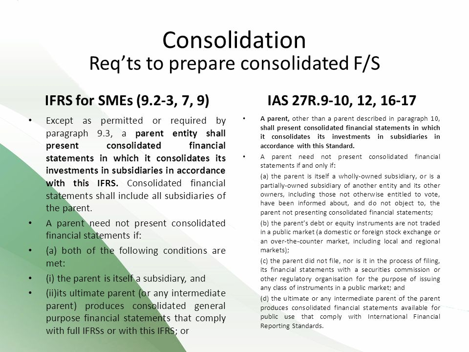 Req'ts to prepare consolidated F/S