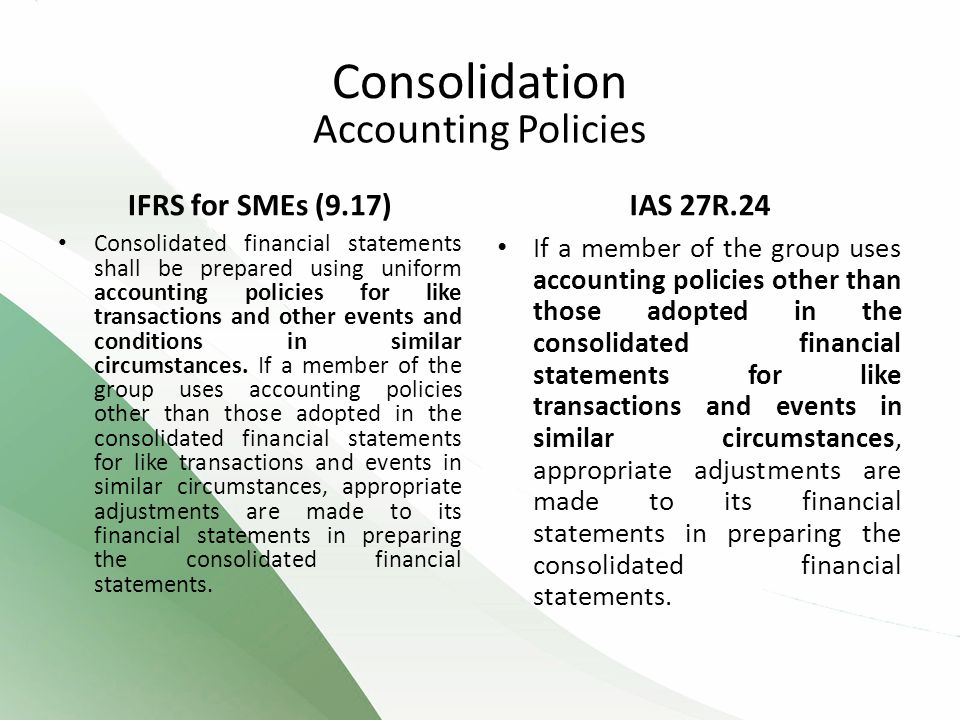 Consolidation Accounting Policies IFRS for SMEs (9.17) IAS 27R.24