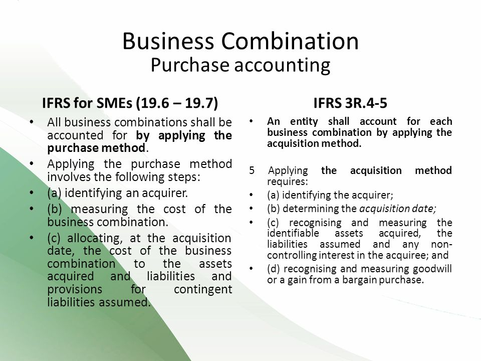 Business Combination Purchase accounting IFRS for SMEs (19.6 – 19.7)