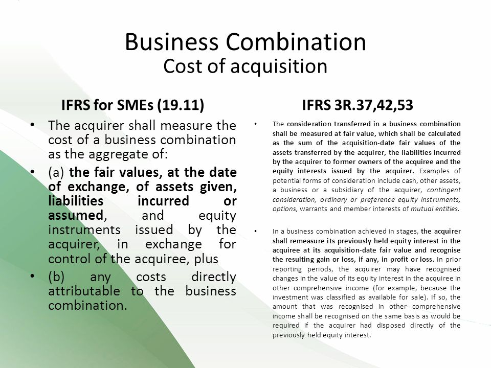 Business Combination Cost of acquisition IFRS for SMEs (19.11)