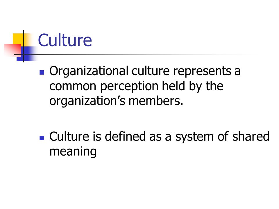 Culture Organizational culture represents a common perception held by the organization's members.