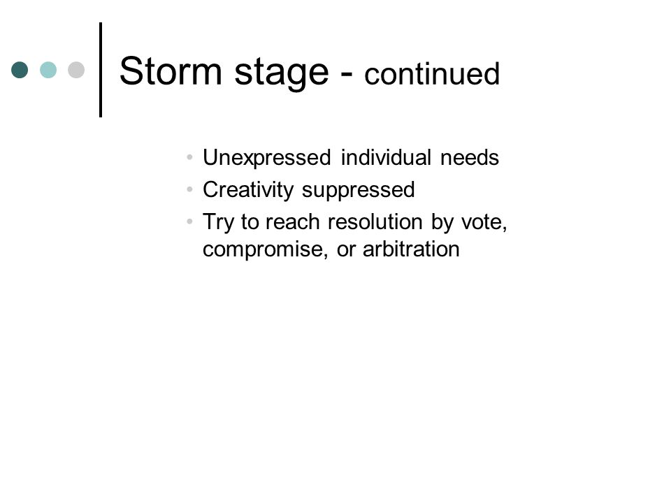 Storm stage - continued