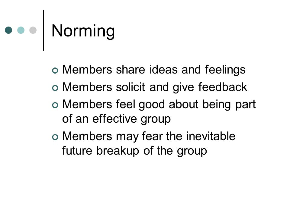 Norming Members share ideas and feelings