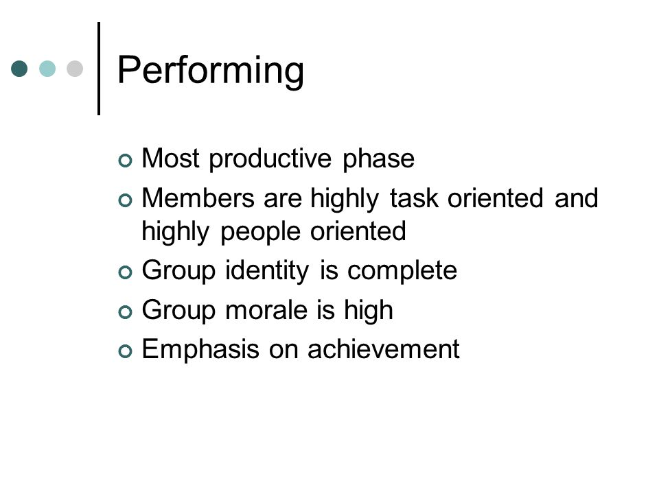 Performing Most productive phase