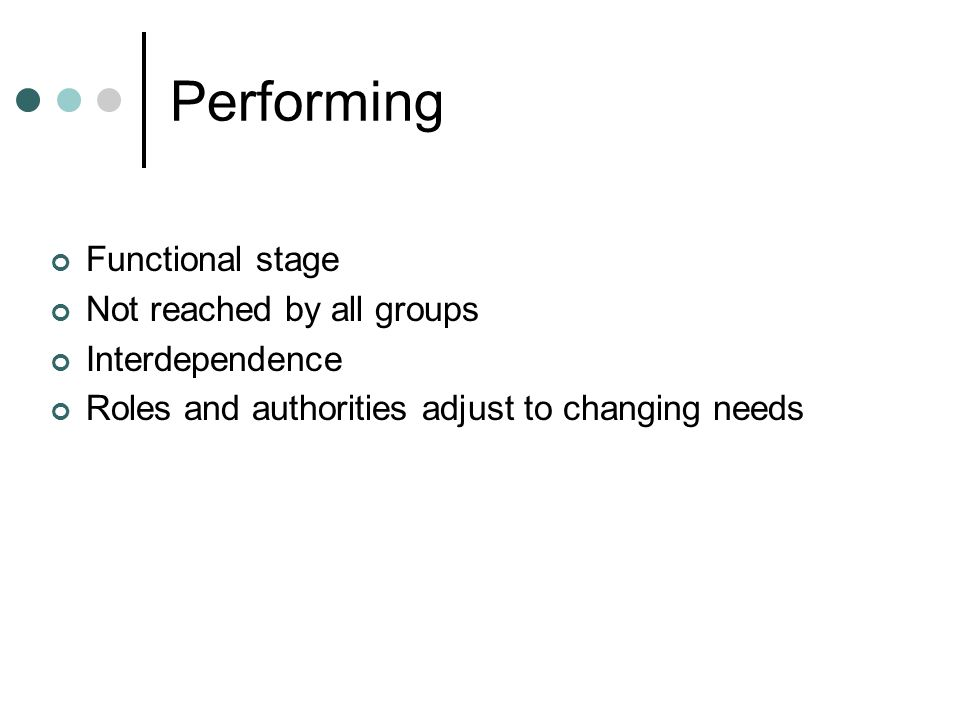 Performing Functional stage Not reached by all groups Interdependence