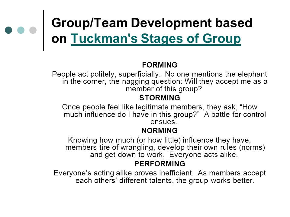 Group/Team Development based on Tuckman s Stages of Group