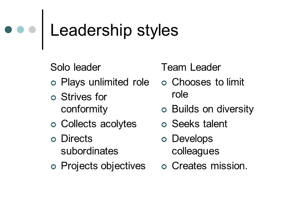 Leadership styles Solo leader Plays unlimited role