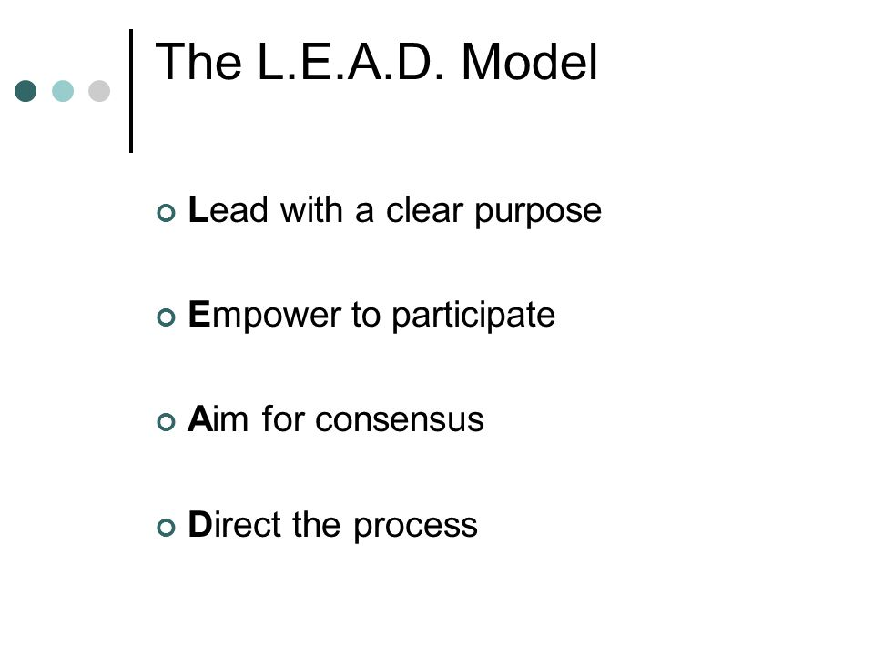 The L.E.A.D. Model Lead with a clear purpose Empower to participate