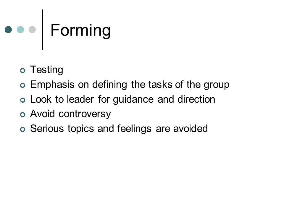Forming Testing Emphasis on defining the tasks of the group