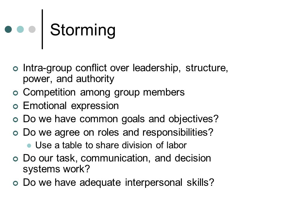 Storming Intra-group conflict over leadership, structure, power, and authority. Competition among group members.