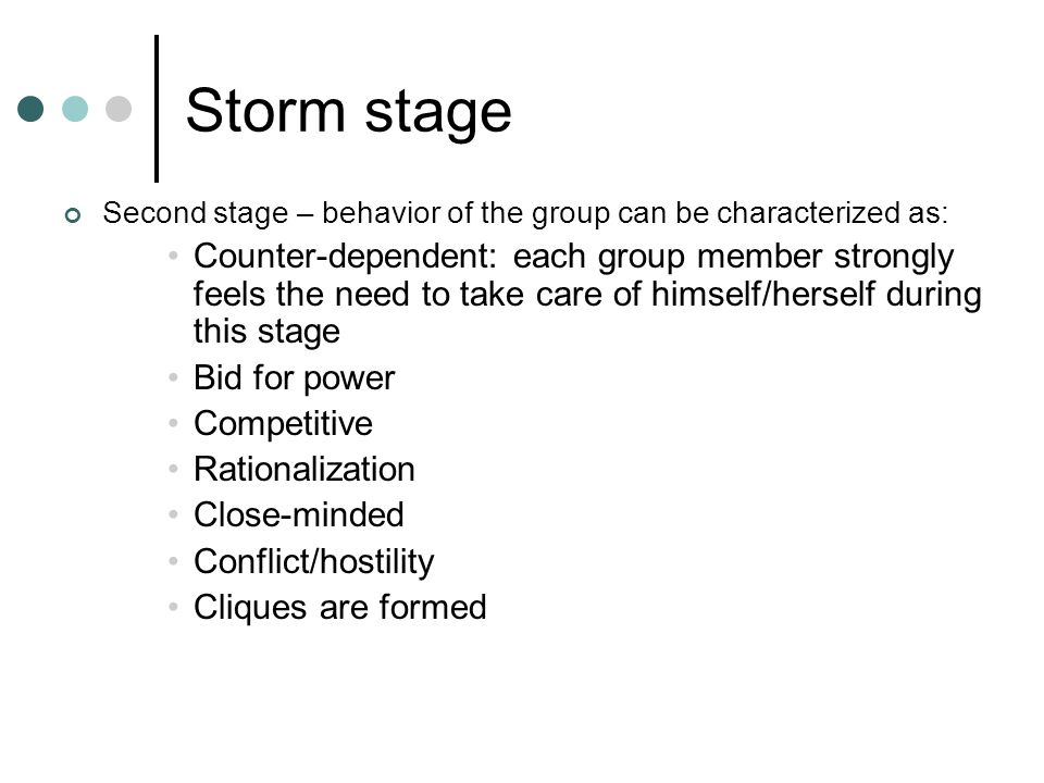 Storm stage Second stage – behavior of the group can be characterized as: