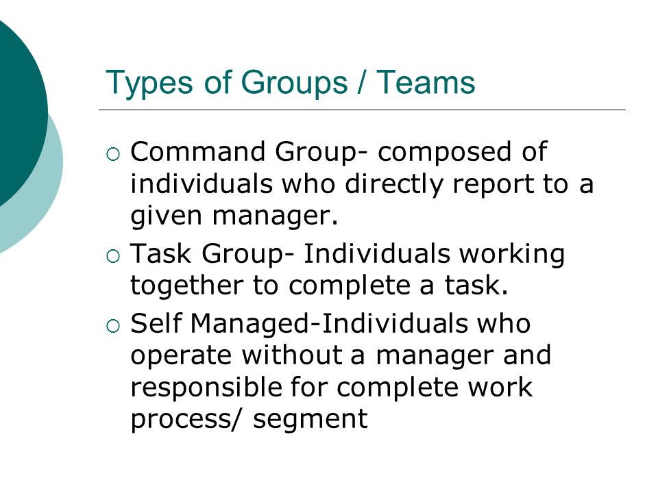 Types of Groups / Teams Command Group- composed of individuals who directly report to a given manager.