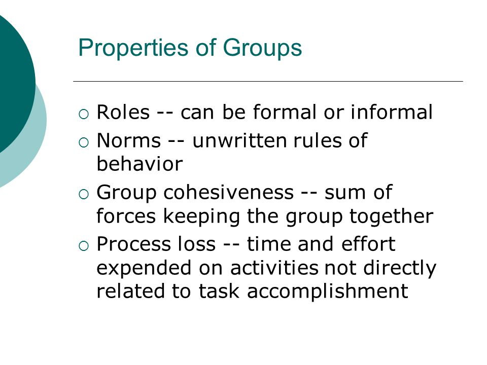 Properties of Groups Roles -- can be formal or informal