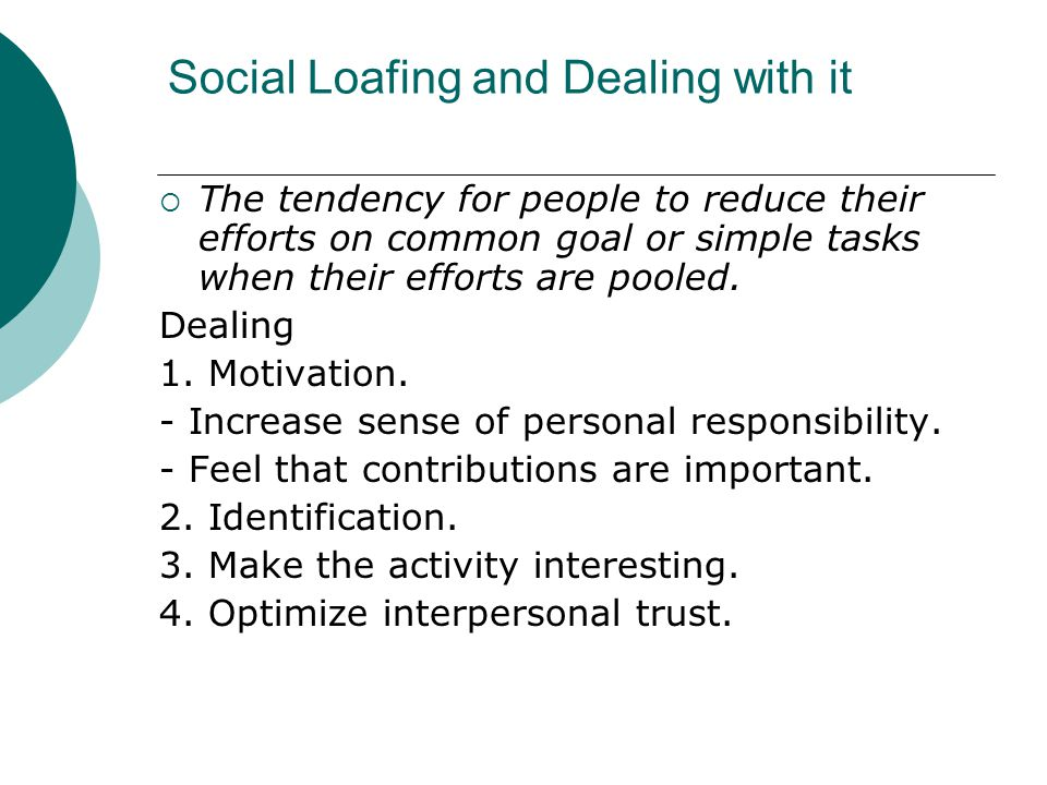 Social Loafing and Dealing with it