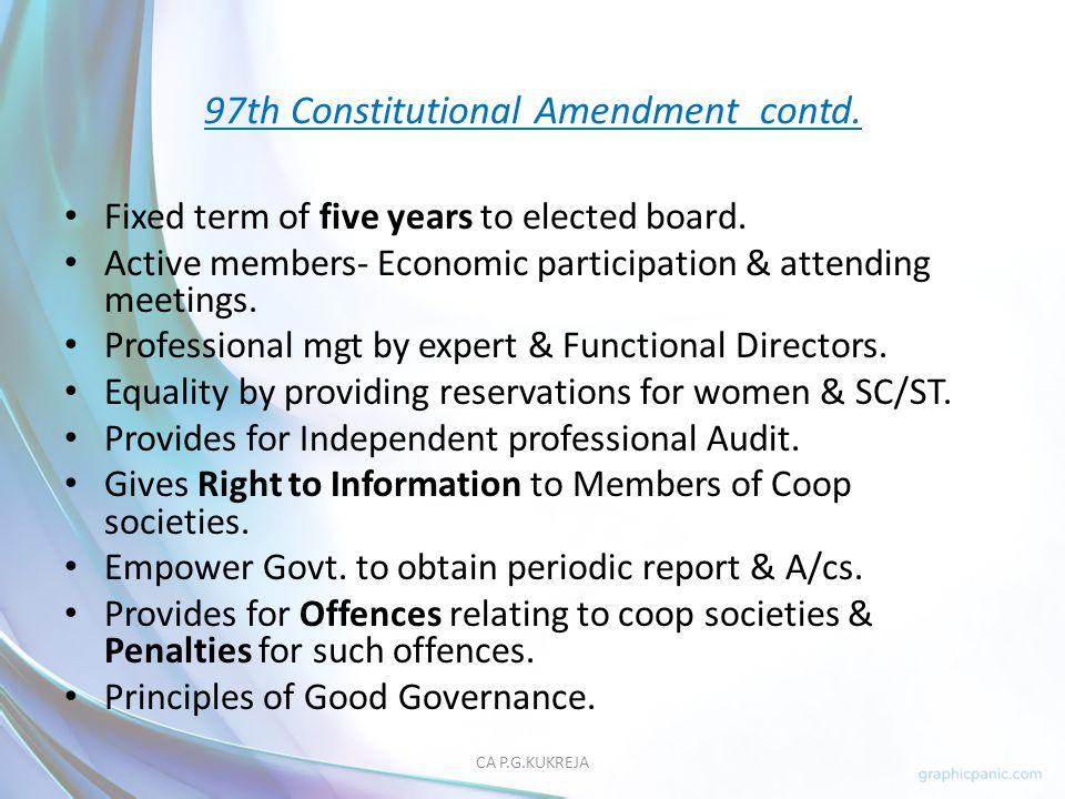 97th Constitutional Amendment contd.