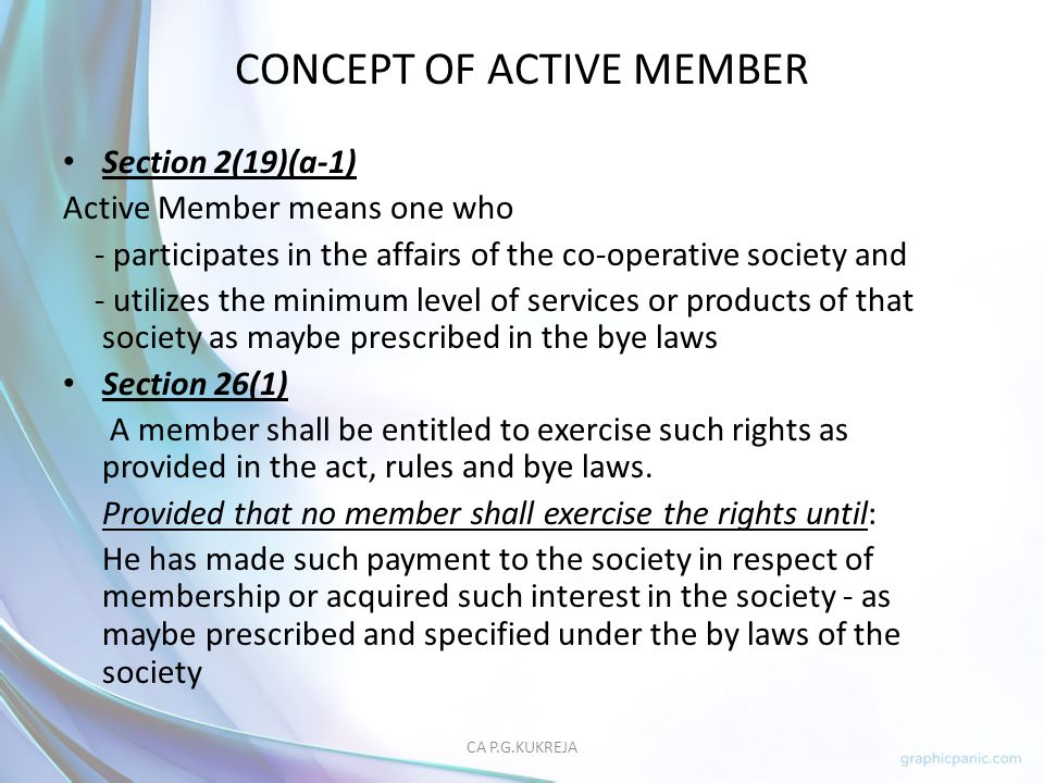 CONCEPT OF ACTIVE MEMBER