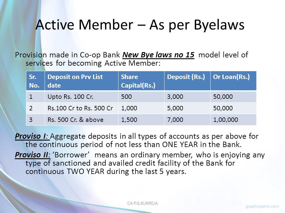 Active Member – As per Byelaws