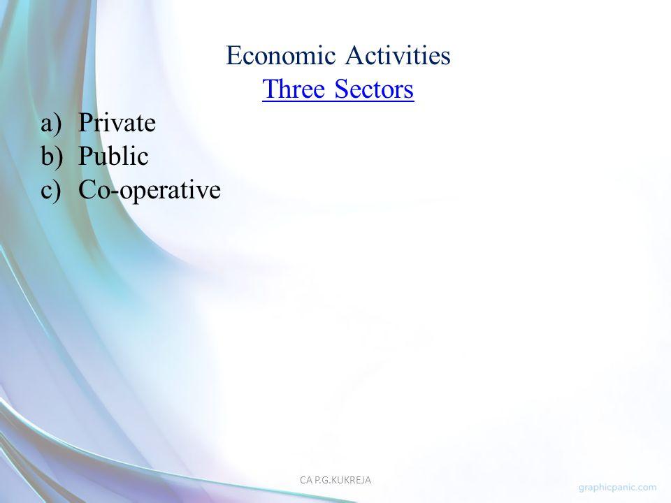 Economic Activities Three Sectors Private Public Co-operative